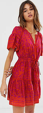 Whistles Henna print flippy mini dress-Pink