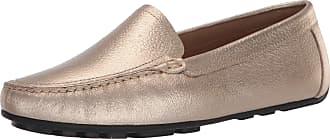 Driver Club USA Womens Leather Made in Brazil Driving Loafer with Venetian Detail, Gold Grainy, 4.5 UK