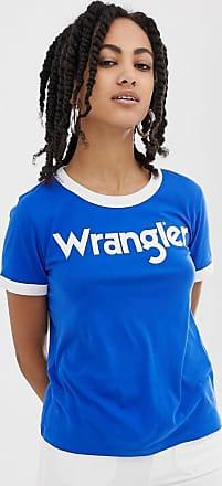 Wrangler T-shirt con bordi a contrasto e logo sul davanti-Blu