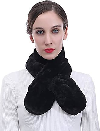 Lina & Lily Unisex Faux Fur Pull-through Winter Neck Scarf Lightweight (Black)