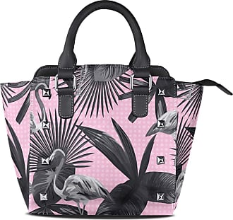 NaiiaN Tote Bag for Women Girls Ladies Student Keepers Light Weight Strap Purse Shopping Shoulder Bags Leather Tropical Leaves Seamless Flamingo Bird Animal