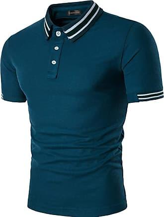 Jeansian Mens Polo T-Shirts Contrast Collar Golf Tennis Short Sleeve Shirt Tops JZA466 Blue XL