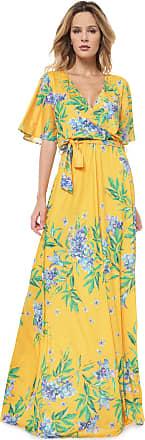 Lança Perfume Vestido Lança Perfume Longo Floral Amarelo