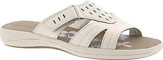 Easy Street Womens Blanche Fabric Open Toe Beach Slide Sandals, White, Size 10.0 US / 8 UK US