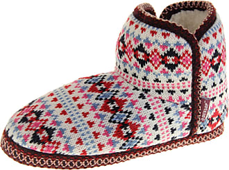 Footwear Studio Dunlop Eleanor Womens Cable Knitted Wool Slipper Boots Ladies Slouch Boots (Red, Numeric_3)