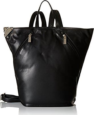 Visconti Ladies Triangular Leather Backpack Rucksack Medium, Black