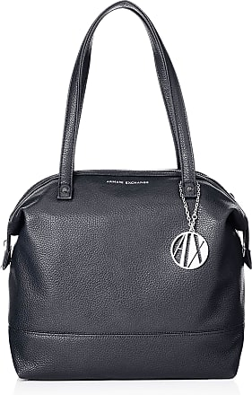 A X Armani Exchange Tote Bag Leather Womens Tote, Blue (Navy), 31x16x52 centimeters (B x H x T)