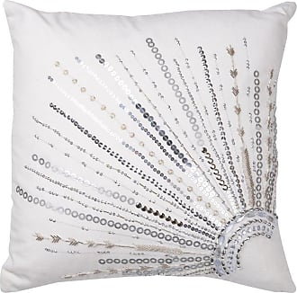 A & B Home 18 in. Nina Silver Beaded Decorative Pillow White - TAV40588
