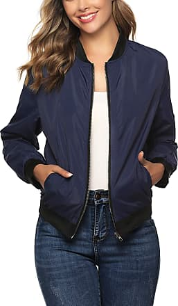 Aibrou Women Bomber Jacket Casual Lightweight Zip Up Softshell Flight Coat Classic Jacket with Pockets Navy