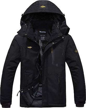 Wantdo Mens Anorak Ski Jacket Fleece Waterproof Windproof Multi-Pockets Black 3X-Large