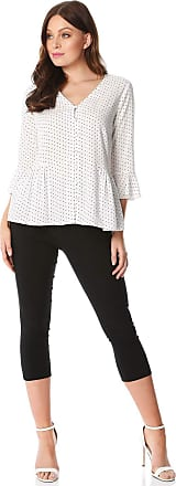 Roman Originals Spot V-Neck Frill Blouse - Ladies V Neck 3/4 Length Sleeve Button Up Polka Dot Pleated Everyday Office Interview Casual Work Wear Going Out Smart Tops
