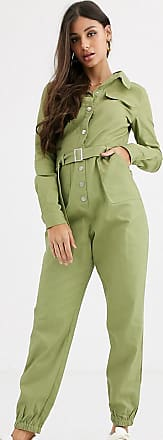 Missguided Tall utility jumpsuit in olive green