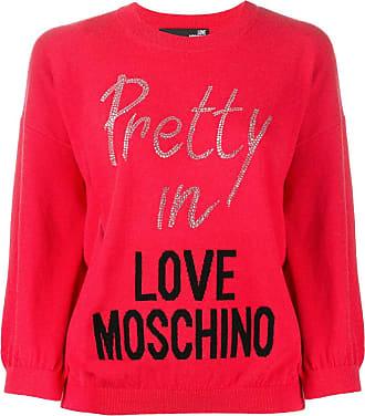 Love Moschino Suéter com logo e aplicações de cristais - Vermelho