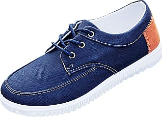 Daytwork Casual Canvas Shoes Sneakers - Mens Lace Ups Canvas Loafers Breathable Casual Oxfords Soft Walking Flats Dress Shoe Blue
