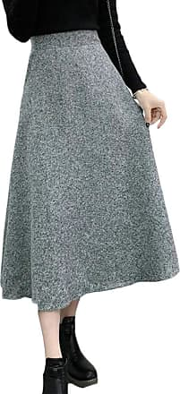 H&E Women Autumn Winter High Rise A-line Woolen Swing Midi Skirt Light Grey XL