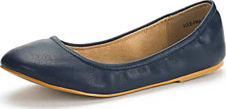 Dream Pairs Womens Slip On Round Toe Ballet Flats Pumps Shoes Sole-Fina Navy Size 8.5 US/ 6.5 UK