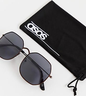 66e65a914e4 Asos metal oversized square sunglasses in copper with smoke lens - Brown