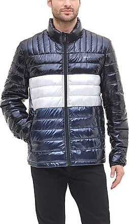 DKNY Mens Water Resistant Ultra Loft Quilted Packable Puffer Jacket Down Alternative Coat, Black/Navy Pearlized, Large