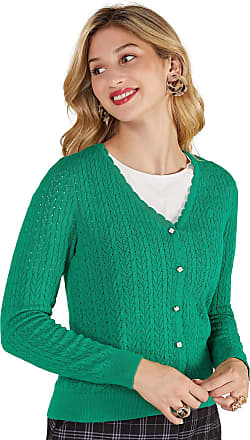 Yumi Green Pointelle Stitch Cardigan with Daisy Button