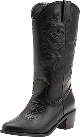 Mediffen Women Classic Pointed Toe Slip on Cowboy Boots Black Size 40 Asian
