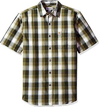 Carhartt Work in Progress Mens Essential Plaid Open Collar Short Sleeve Shirt, Olive, Small
