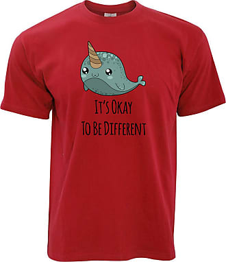 Tim And Ted Cute Narwhal T Shirt Its Okay to Be Different Slogan - (Red/XXXXX-Large)