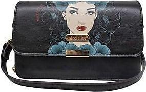 Nicole Lee Bolsa de Mano Estampada con Solapa<br>18.4 x 12 x 6.35 cm<br>Negro Y Azul