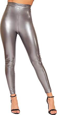 4062335e3fddc WearAll Womens Wet Look Shiny Vinyl High Waisted Elasticated Jeggings  Ladies Leggings - Silver - 12