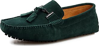Minitoo Mens Casual Dress Green Suede Loafers Shoes with Tassel UK 5.5