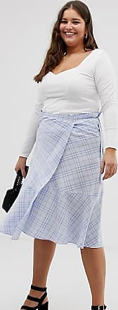 Urban Bliss gingham wrap skirt-Blue