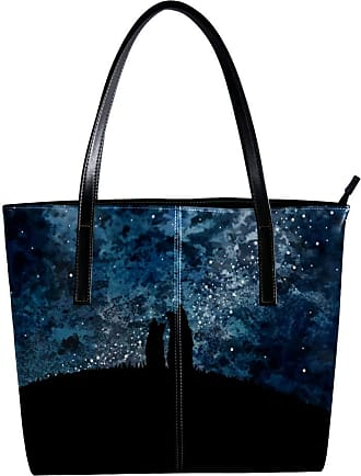 Nananma Womens Bag Shoulder Tote handbag with Two Dogs Sitting On The Hill With Starry Night Pattern Zipper Purse PU Leather Top-handle Zip Bags
