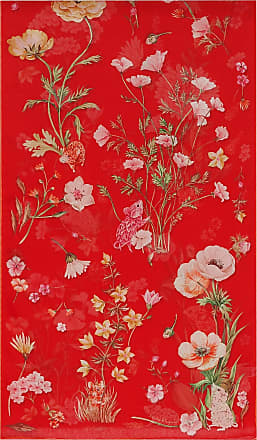 Salvatore Ferragamo Women Silk scarf with printed flowers and letters Red