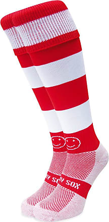 Wackysox Rugby Socks, Hockey Socks - Red and White Hoop Sports Socks