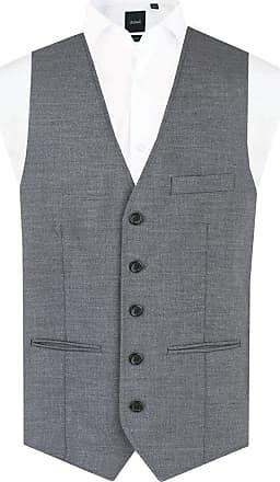 Dobell Mens Grey Sharkskin Waistcoat Regular Fit 5 Button-42