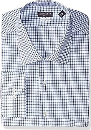 Van Heusen Mens Tall Dress Shirts Big Fit Flex Check, Danish Blue 18.5 Neck 32-33 Sleeve