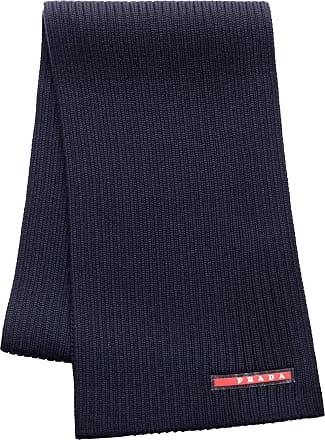 28f56fc7d913 Prada logo embellished ribbed scarf - Di Colore Blu
