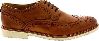 Ikon Mens Hazel Leather Wingtip Brogue Lace Up Office Work Smart Shoes - Tan - 11