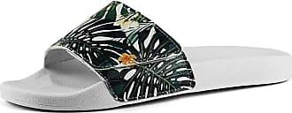 La Faire Chinelo Slide com Velcro Monstera Flowers Unissex (43/44, Monstera Flowers-BRANCO)