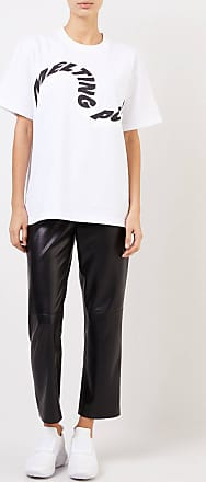 sacai T-Shirt Melting Pot mit frontalem Schriftzug Weiß/Schwarz 100% Baumwolle Made in Japan 1 = 34 2 = 36 3 = 38 4 = 40