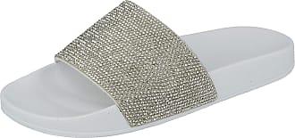 Urban Jacks Womens Slip On Sliders Flat Diamante Rubber Mules Flat Sole Sandals (UK 7 / EU 40, Glitter White)