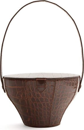 Staud Alice Crocodile-effect Leather Bag - Womens - Dark Brown