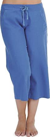 Tom Franks Ladies Solid Colour Linen 3/4 Length Trouser Lounge Wear Pants - Royal Blue - One Size