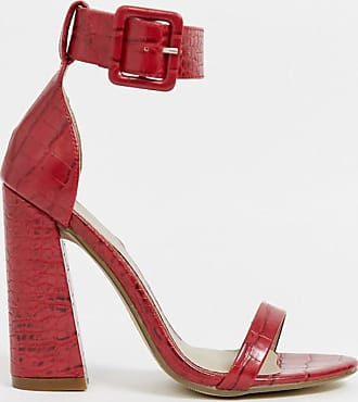 Missguided buckle detail barely there sandals-Red