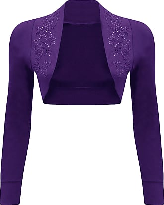 WearAll New Ladies Beaded Shrug Bolero Top Womens Sizes Purple 12/14