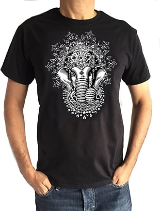 Irony Ganesh Elephant God Line Art Screen Print t-Shirt S59-1B (X-Large) Black
