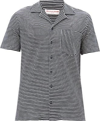 Orlebar Brown Travis Striped Cotton-blend Shirt - Mens - Cream Navy