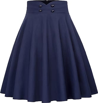 Belle Poque Womens Retro Elastic High Waist Fit and Flare Pleated A-line Midi Skirt XL Navy Blue(560-2)