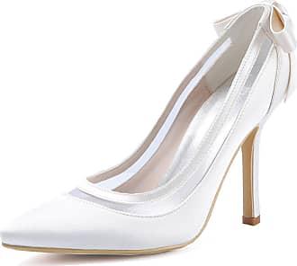 Elegantpark HC1806 Wedding Bridal Shoes Women Pointed Toe Wedding Heels for Bride Stiletto High Heels Bow Satin Court Shoes White UK 7(EU 40)