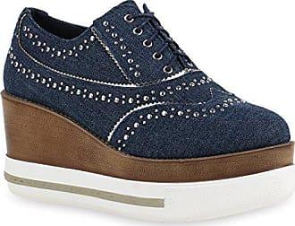 e8da5a4d9c356f Stiefelparadies Damen Plateau Halb Denim Jeans Nieten Schnürer Schuhe  141047 Dunkelblau 41 Flandell