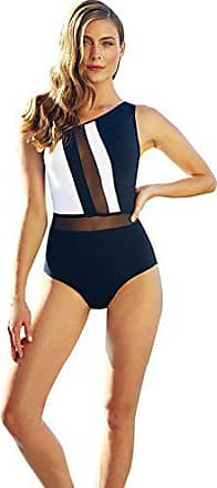 ac562016029d9 Anne Cole Womens Mesh High Neck Plunge Sexy One Piece Swimsuit, Black/White,